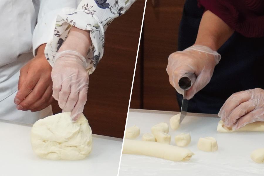 生地は、耳たぶくらいの硬さになるまで練ってください。20g弱ずつに切って具を包み、ひだをあまり作らずに包みます。